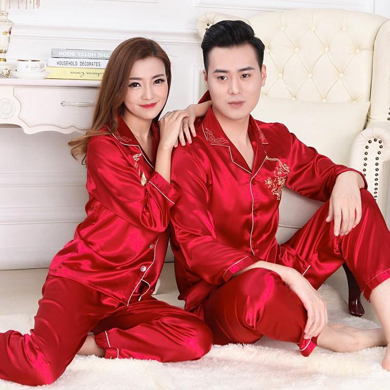 dc5e5c3e7e 2019 Wholesale Winter Womens Mens Couple Silk Pajamas Suits Set ...