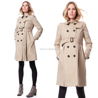 OEM Fashion Pregnant Women Long Coat Office Ladies Wear Coat Elegant Autumn Winter Turn-Down Collar Brown Trench Maternity Coat