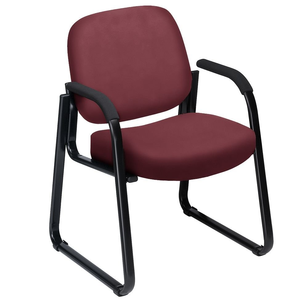 """Vinyl Guest Chair with Arms Dimensions: 24.75""""W x 26.5""""D x 33""""H Seat Dimensions: 19.5""""Wx19.25""""Dx18.5""""H Weight: 32 lbs. Wine Vinyl/Black Frame"""