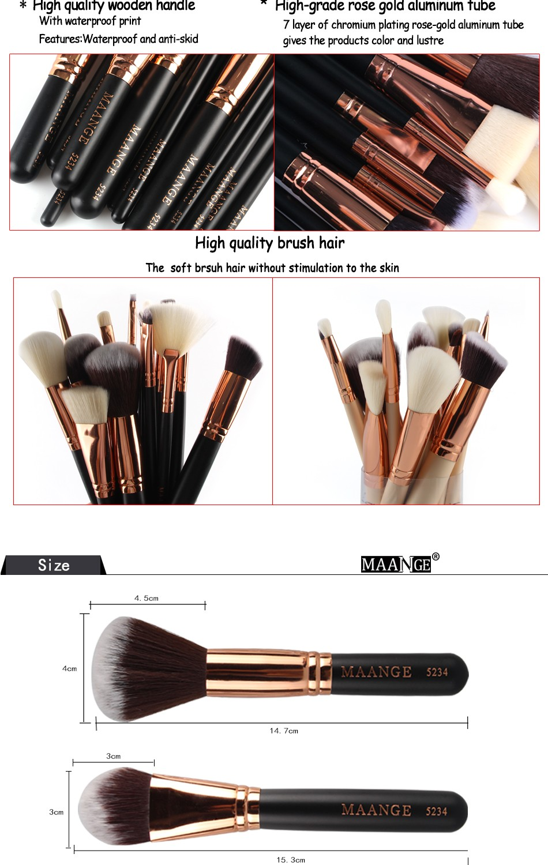 Colorful Maange 10 Pcs Ombre Rainbow Mermaid Makeup: New Professional Make Up Brush Set 15pcs Private Label