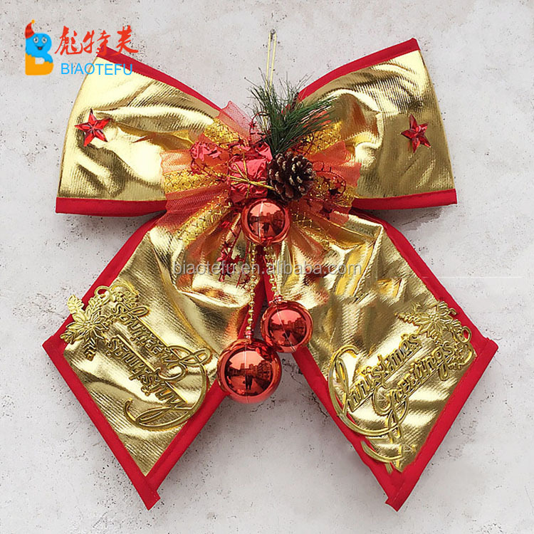 whosale christmas party bowknot indoor decoration christmas ornament wall or christmas tree bowknot decoration