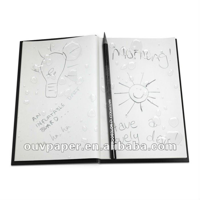 100% Waterproof Notebook with PVC material cover,Works underwater,Removable perforated pages,80g waterproof white paper