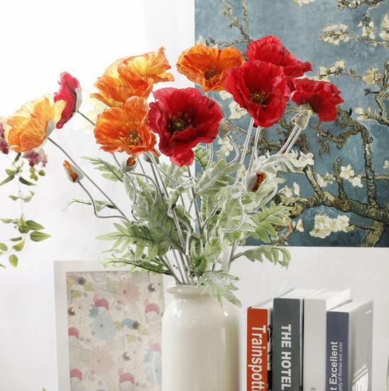 High Simulation Home Decorative Artificial Silk Red Poppy Flower For