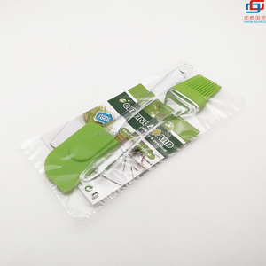Green Cake Baking Mixing Scraper silicone Brush and silicone spatula set