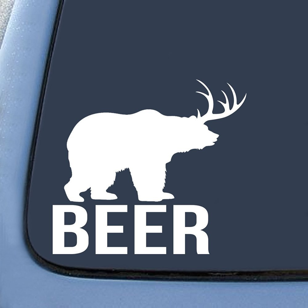 "Bear + Deer = BEER? funny Sticker Decal Notebook Car Laptop 6"" (White)"