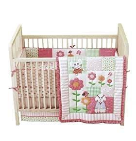 4-Piece Pink Crib Bedding Set