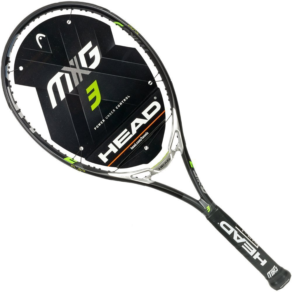 55587631b97 Get Quotations · HEAD MxG 3 Black Silver Lime Green 16x18 Midplus Tennis  Racquet Strung with Custom