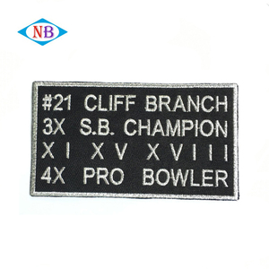 Wholesale custom silver thread embroidered patches for clothing