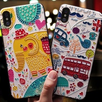 Custom Cute Cartoon 3D Cat Emboss Silicone Mobile Phone Case For iPhone 6 6s 8 Plus X ,Mobile Phone Accessories