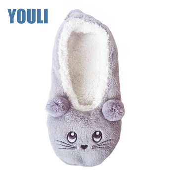 c9edadc79 Ladies Plush Fleece Fur Lined Ballet Home Sock Slippers With Non slip Sole