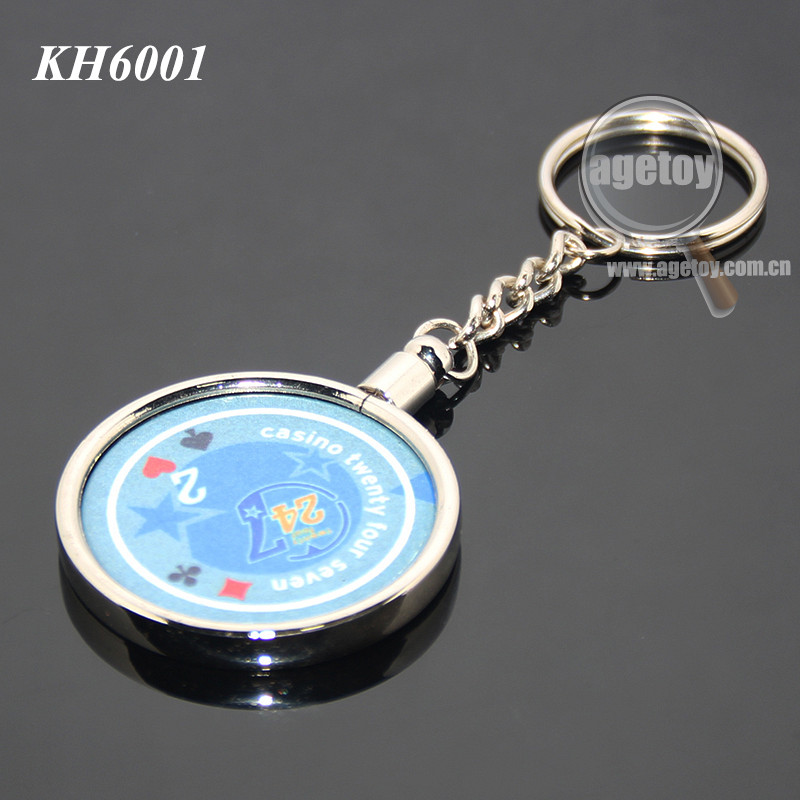 45mm Casino Poker Chip Holder Random Print Clay Coins Chips Zinc Alloy Silver Plated Metal Poker Chips Keychain