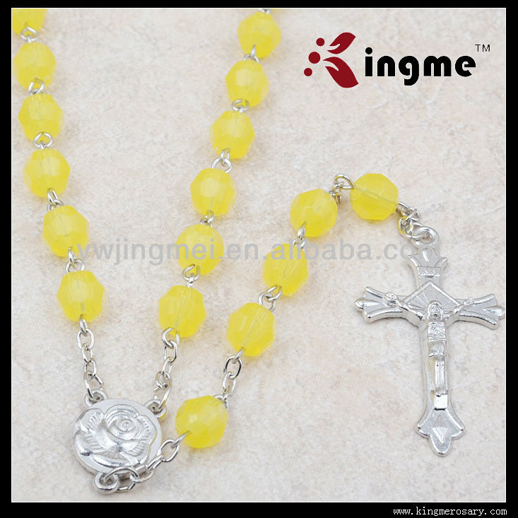 Yellow Color Acrylic beads Rosary necklace