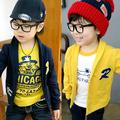 2016 spring autumn children coat baby boy solid long sleeved v neck cardigan jackets for boys