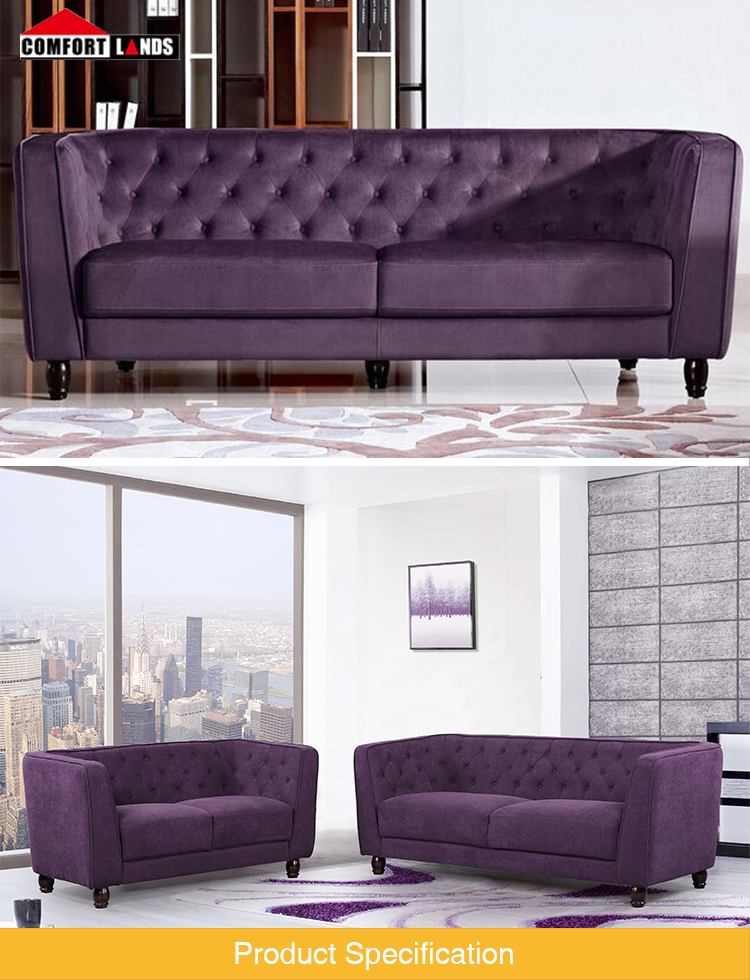 purple knit fabric couch living room sofa 3 seater modern design fabric sofa