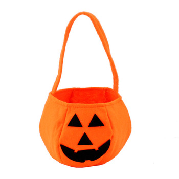 Halloween supplies handheld pumpkin bag Halloween props nonwoven pumpkin bag solid pumpkin bag