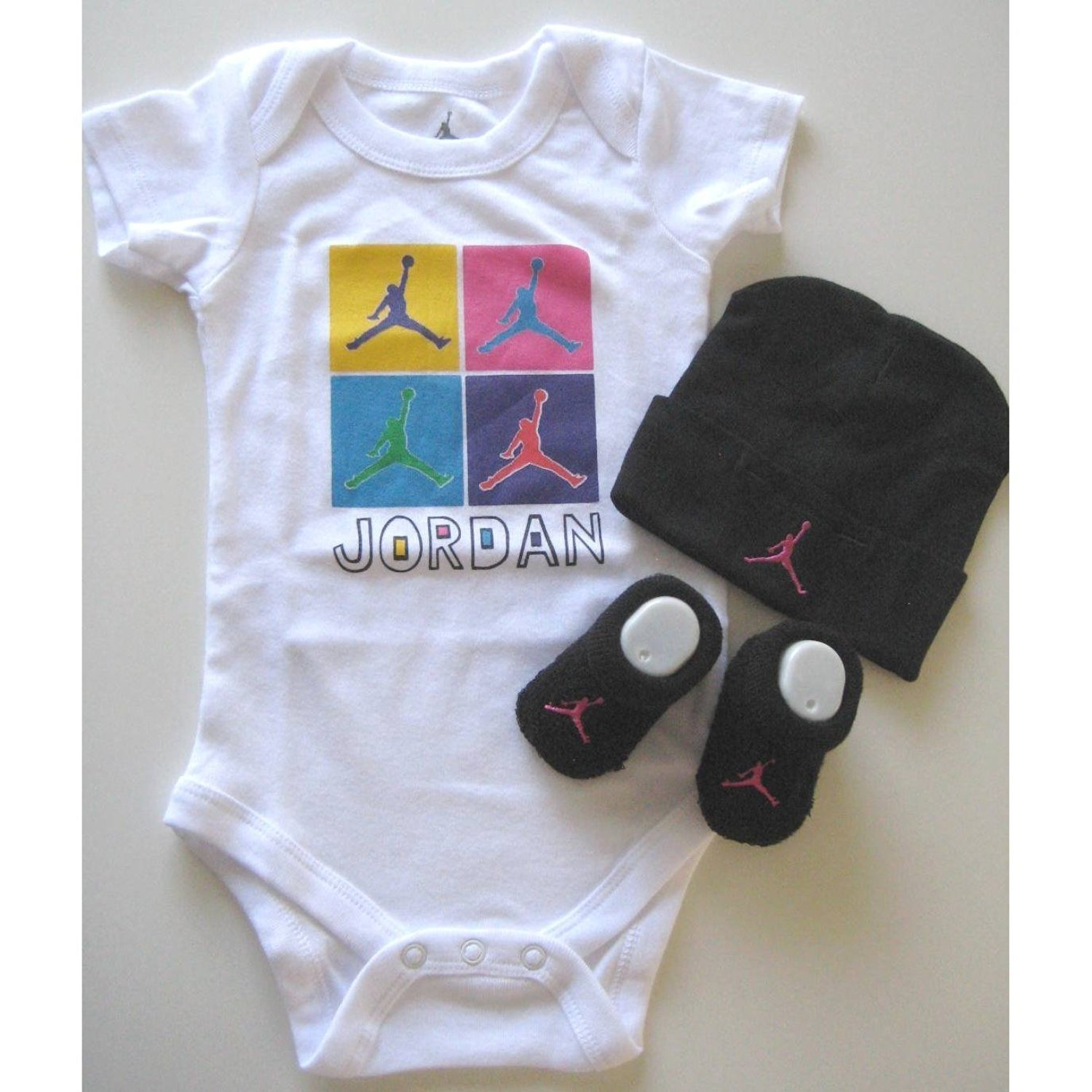 0-6 Months, Jumpman WHITE//BLACK BABY BOY//GIRL UNISEX Nike 3 Piece Infant Set
