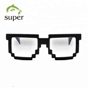 Hot Glossy Black Promotion 8-bit Pixel Sunglasses Clear Lens