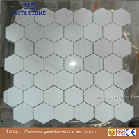 Carrara White Italian Carrera Marble Hexagon Mosaic Tile 4 inch Polished