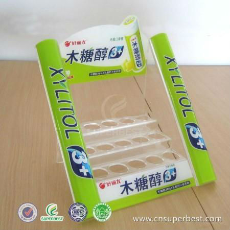 acrylic chewing gum display shelf for supermarket