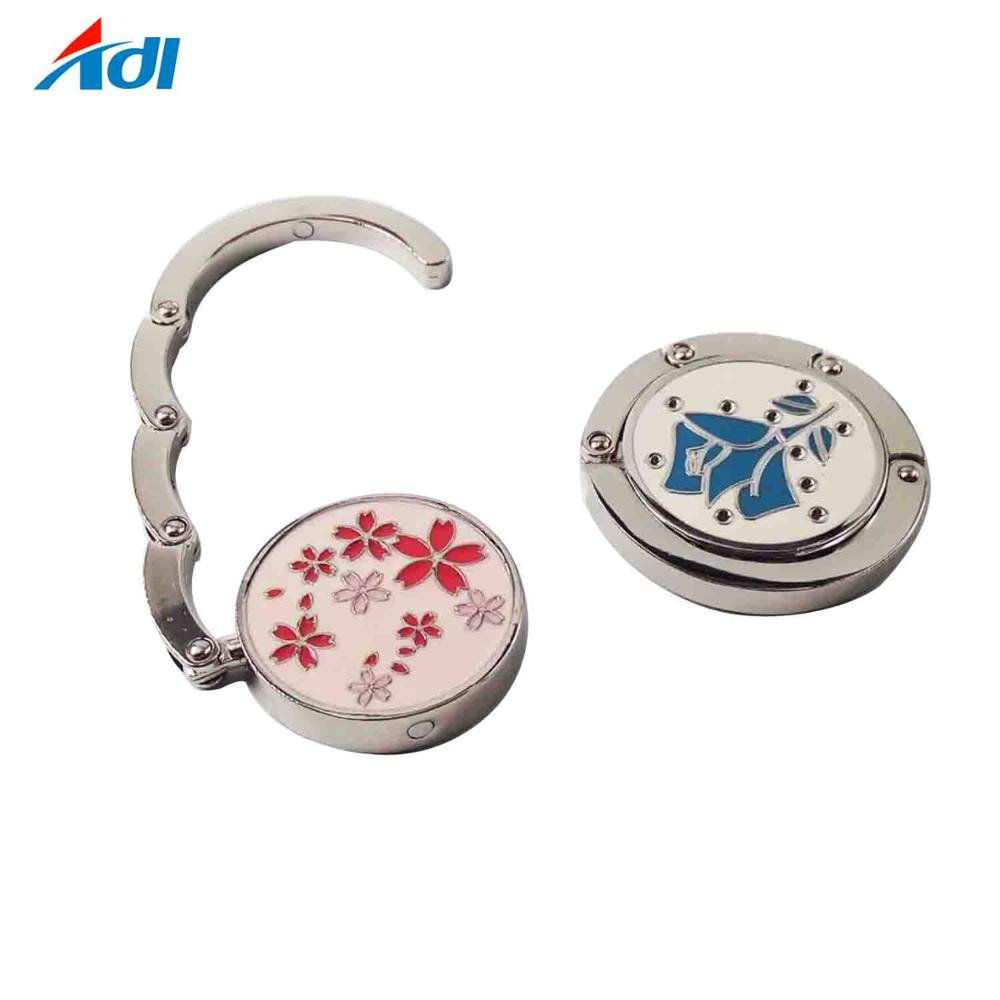 Newest printed enamel table purse hook gold bag hanger for promotion