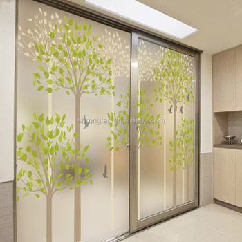 Frosted Translucent Window Film Decorative Green Leaves Glass Stickers -  Buy Translucent Glass Stickers,Frosted Window Film,Translucent Window Film