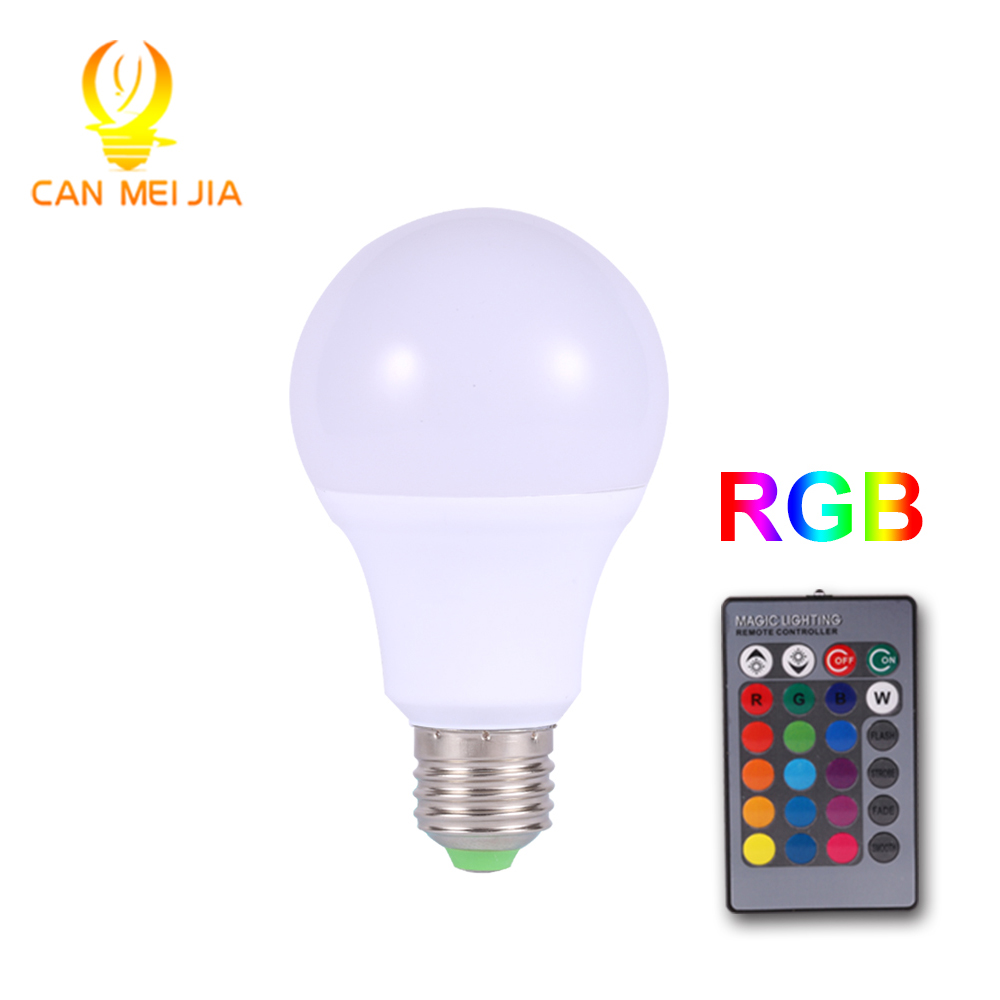 aluminum plastic led bulb Color Changing Dimmable RGB Bulb <strong>E27</strong> with Remote Control Smart 3W 5W 9W for home lighting
