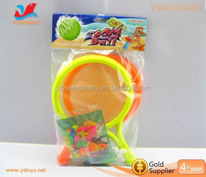 Hot selling summer kids plastic beach tennis racket with water balloon
