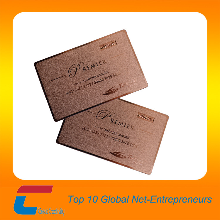 MOQ 100pcs/lot business card ,custom gold/rose gold plated metal card crafts
