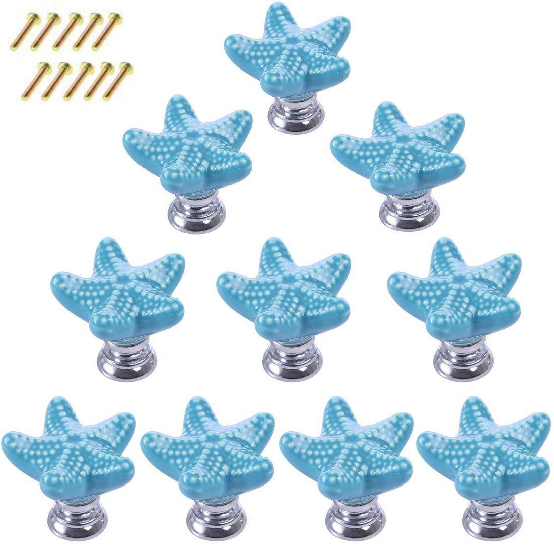 10 Pack Starfish Dresser Knobs,Haoun Starfish Ceramic Knobs Handles Pulls for Drawer Cabinet Dresser,with Screws - Blue