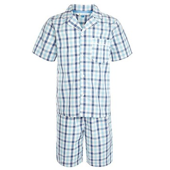 100% Cotton Short Sleeve Gingham Shirt Children Boys Pajamas ...
