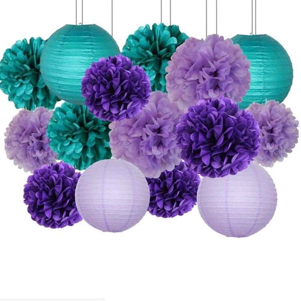 LACGO Halloween Christmas Party Favor Paper Lantern Tissue Pom Poms Set in Aqua Blue, Pink,Purple, for Birthday Party Decoration(12 PCS)