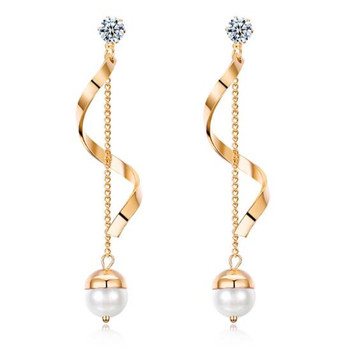 China Manufacture Fashion Women Copper Long Chain Pearls Handmade Earring for Short Hair