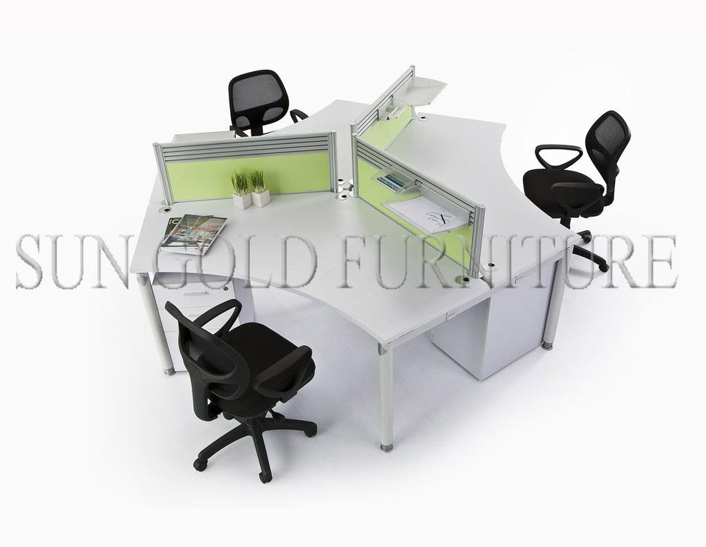 Rond type moderne bureau poste de travail pour 4 personnes for Bureau 4 postes de travail