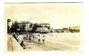 Waikiki Beach and Hotels Real Photo Postcard Honolulu Hawaii 1950's