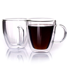 High Borosilicate Double Wall Glass Coffee Cup Mug With Glass Handle