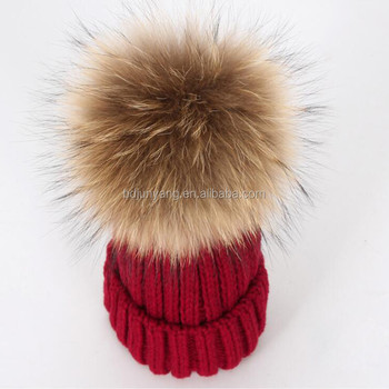 Winter Beanie With Fur Ball Top Knit Hat Funny Winter Hats For Adult ... a24eb6916fa
