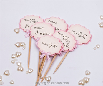 Paper Baby Shower Cupcake Toppers Little Girl Shower Party Picks Its A Girl  , Oh Baby