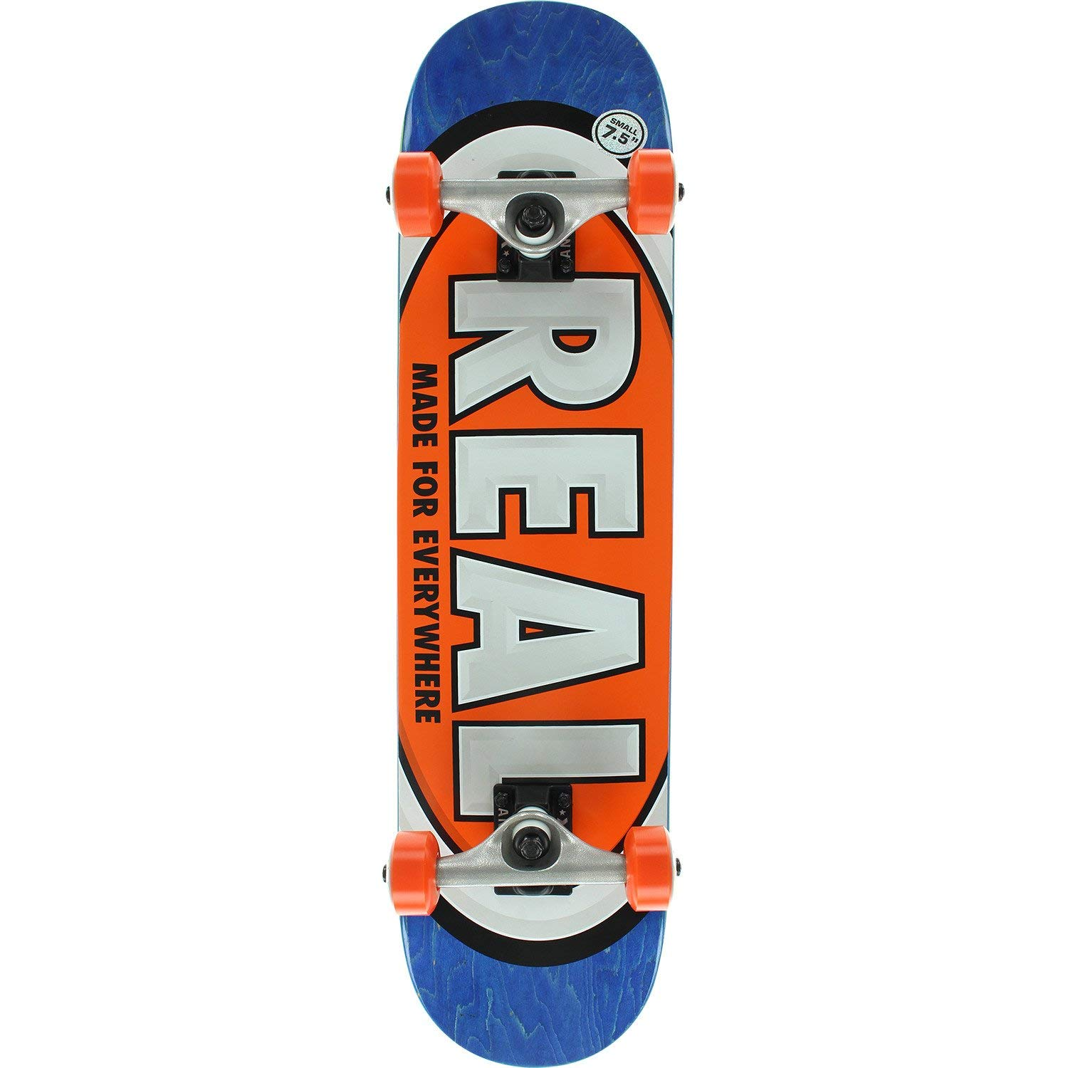 "Real Skateboards Team Oval Small Blue/Orange Mid Complete Skateboards - 7.5"" x 31.12"""