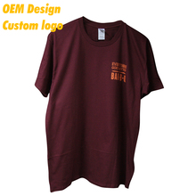 Manufacturer Low cost polyester cotton Screen Print custom size custom hangtag Maroon Crew Collar Men Tshirt for Kid