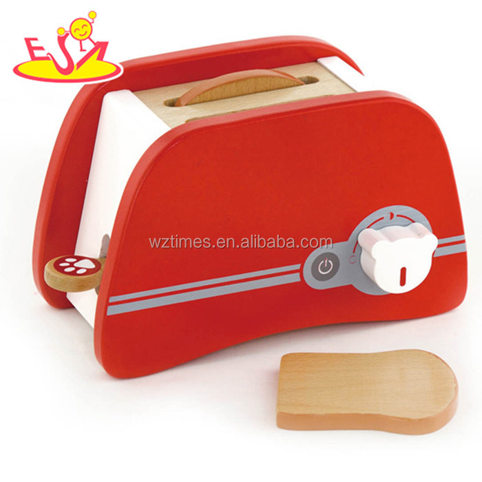 Wholesale red color children wooden bread machine toy for role play game W10D109
