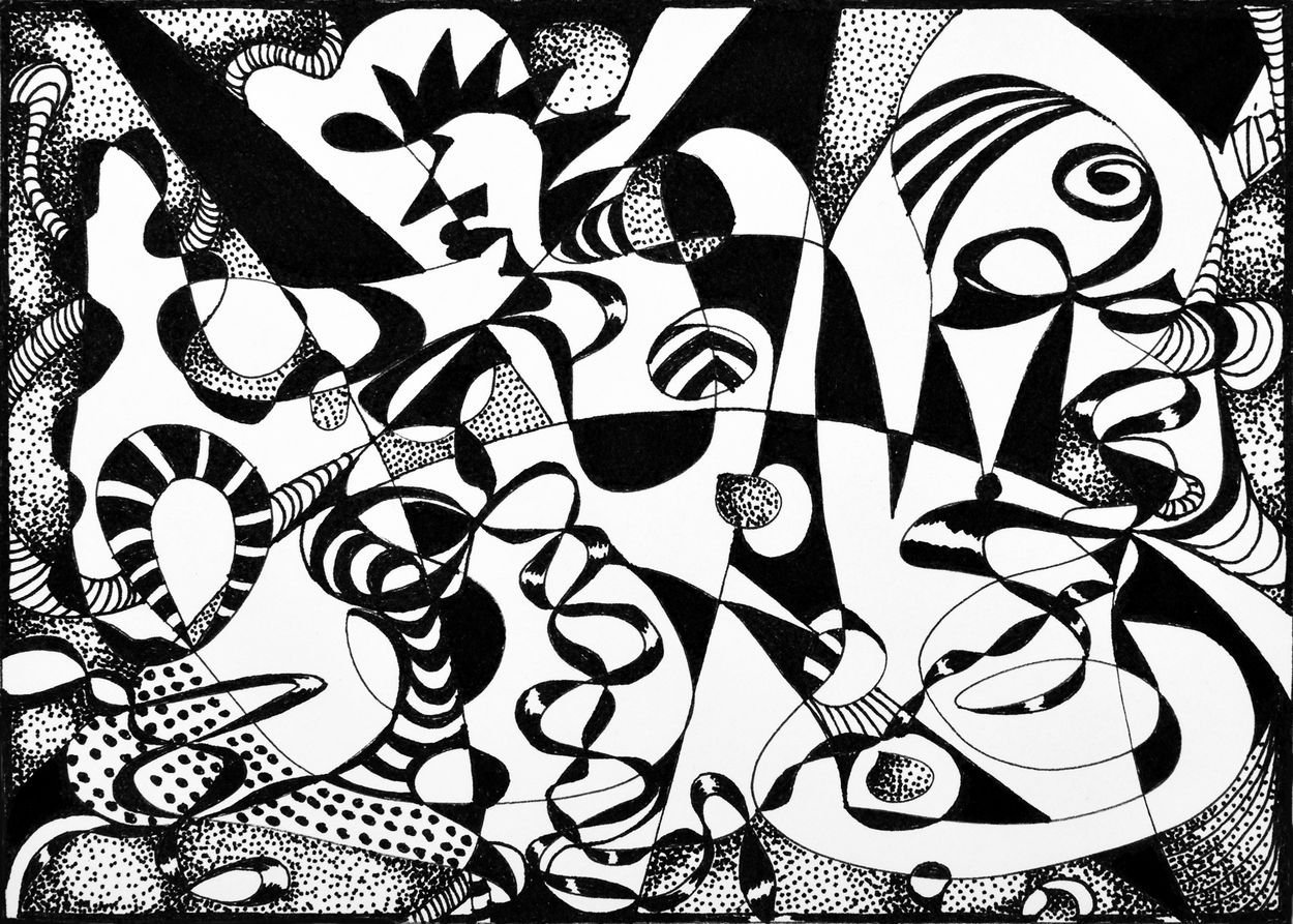 Dinner Party Limited Edition Fine Art Print Abstract Oblique Pen & Ink by Mar...