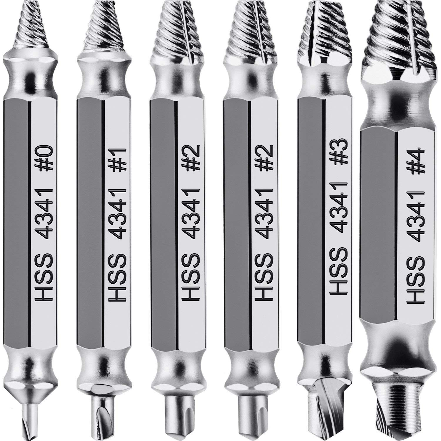 4pcs Screw Extractor Drill Bits Guide Set Broken Damaged Bolt Remover Double Ended Damaged Screw Extractor Remover Tool 5.1cm Drill Bits