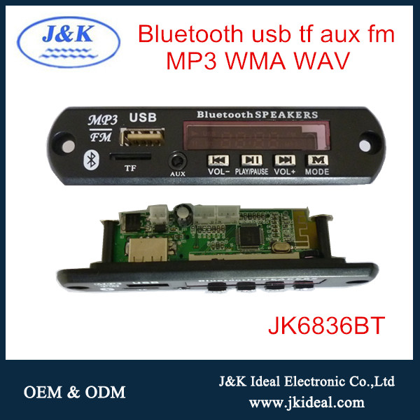 JK6836BT USB wireless bluetooth circuit mp3 decoder board with remote
