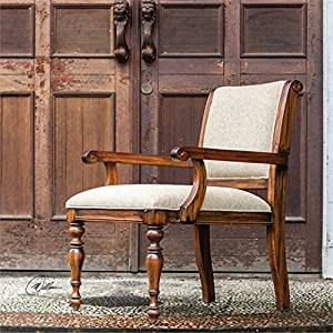 Ambient Craftsman-built Of Honey Stained, Solid Mango Wood, Featuring Hand Turned Legs And Carved Details, With Welted Cushioning In Light Tan Woven Polyester Armchairs