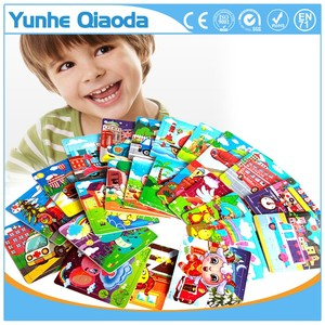 Hot sales kids educational toy 20pcs colorful cartoon wooden game puzzle for wholesale