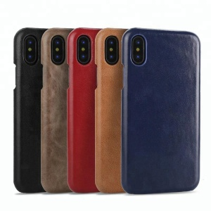 Genuine Lehter Cover Microfiber Lining Protective Case Slim Fit Vintage Shell Hard Back Cover For iPhone X