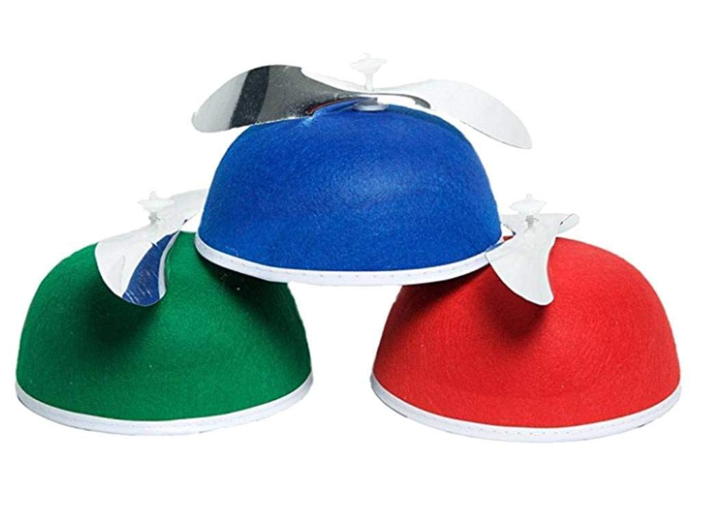d1c1f6b8248d1 Get Quotations · Felt Beanie Copter Helicopter Spinning Propeller Hat Cap  Costume Blue