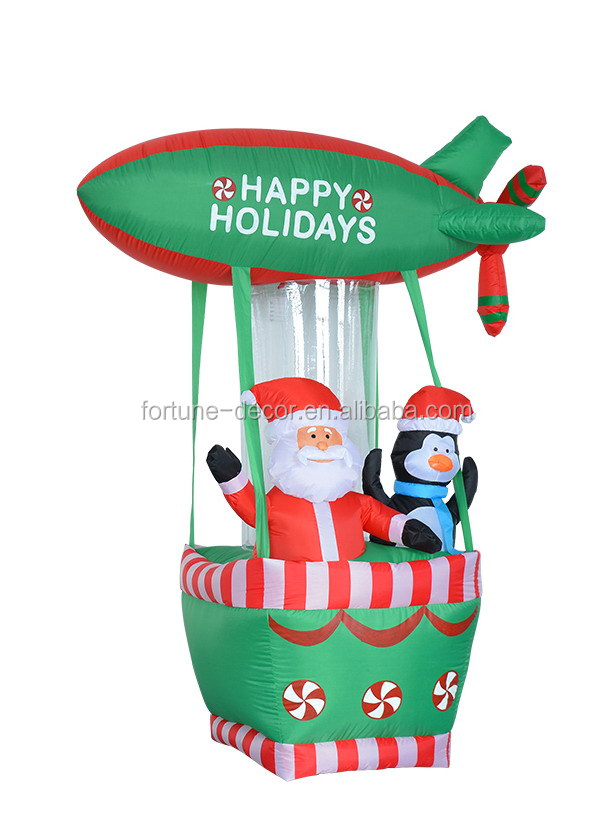 180cm/6ft inflatable santa claus and penguin on green happy holiday hot air ballon for christmas decoration