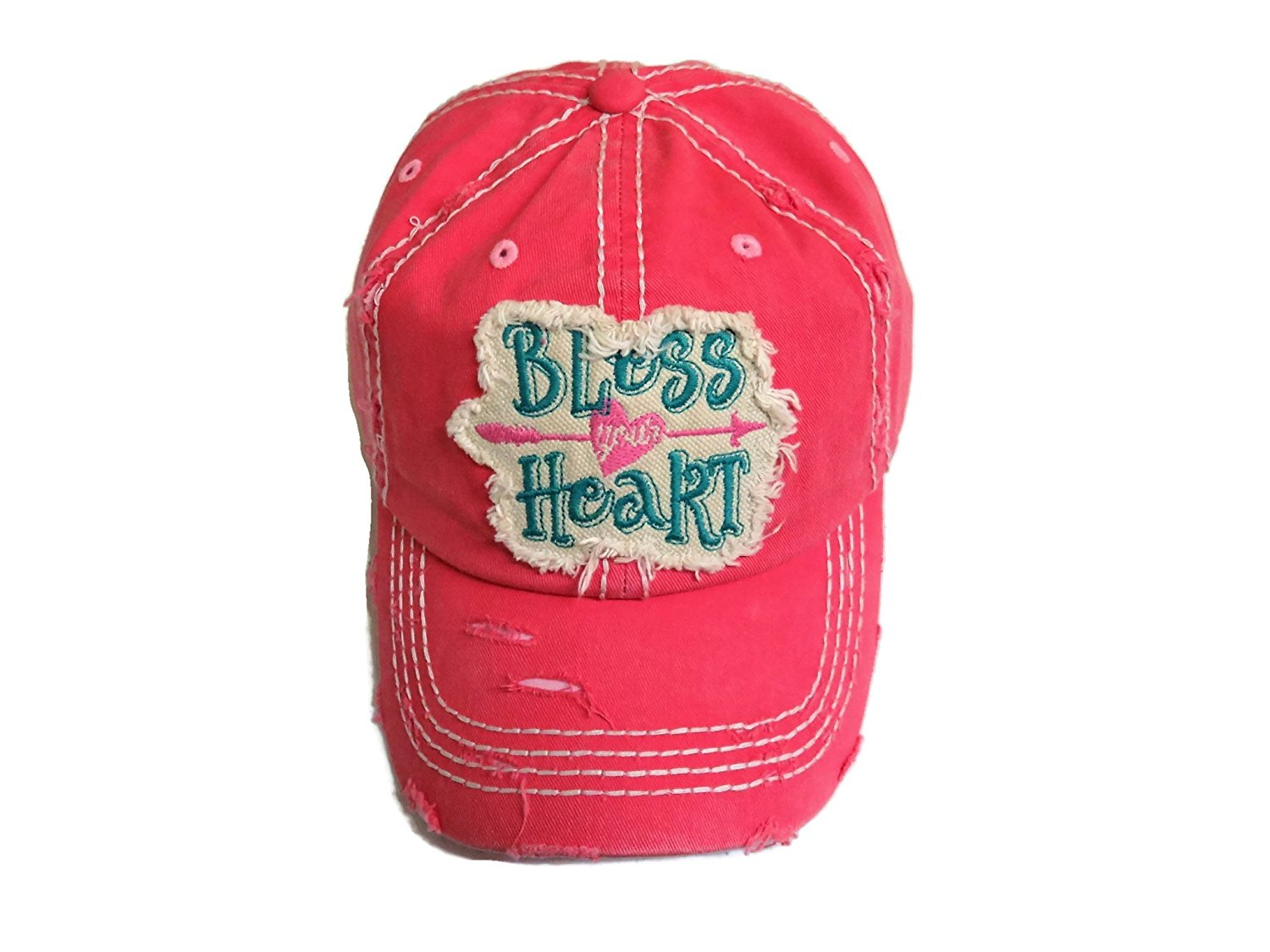 a94fbb54fae2d Get Quotations · Spirit Caps Embroidered Bless Your Heart Frayed Patch  Washed Pink Baseball Cap Hat