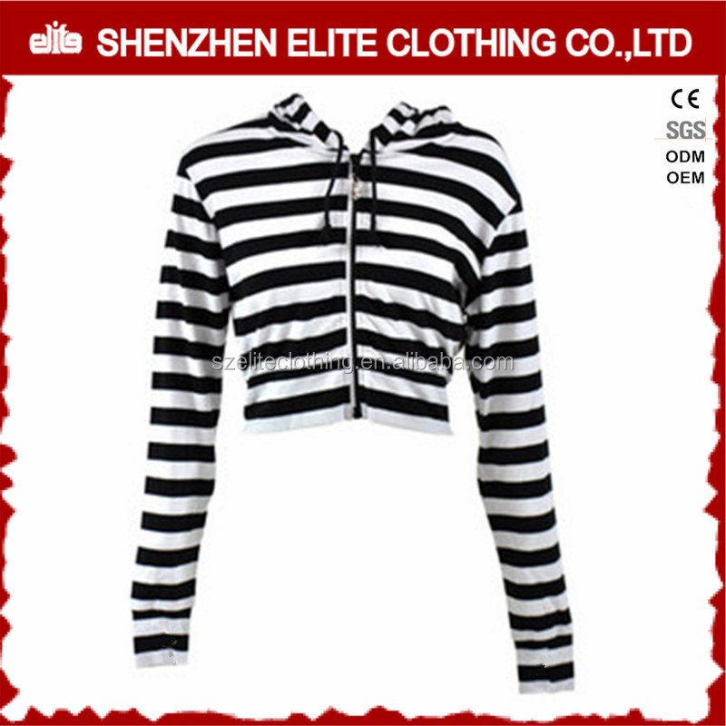 Top Selling Fashion Black And White Stripe Crop Hoodie Women